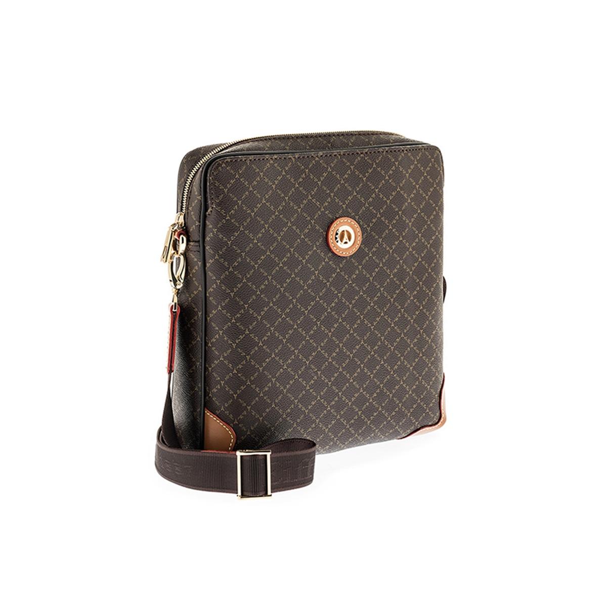 Τσάντα Ώμου-Χιαστί La Tour Eiffel Logo-Δέρμα 112014 Καφέ-Ταμπά ... 04a54d93a34