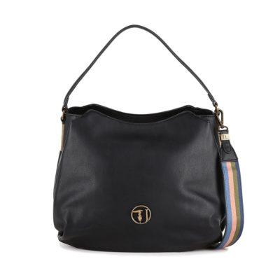 0af53358c2 Τσάντα Ώμου Trussardi Jeans Rabarbaro Hobo Bag Ecoleather 75B00429 Μαύρη