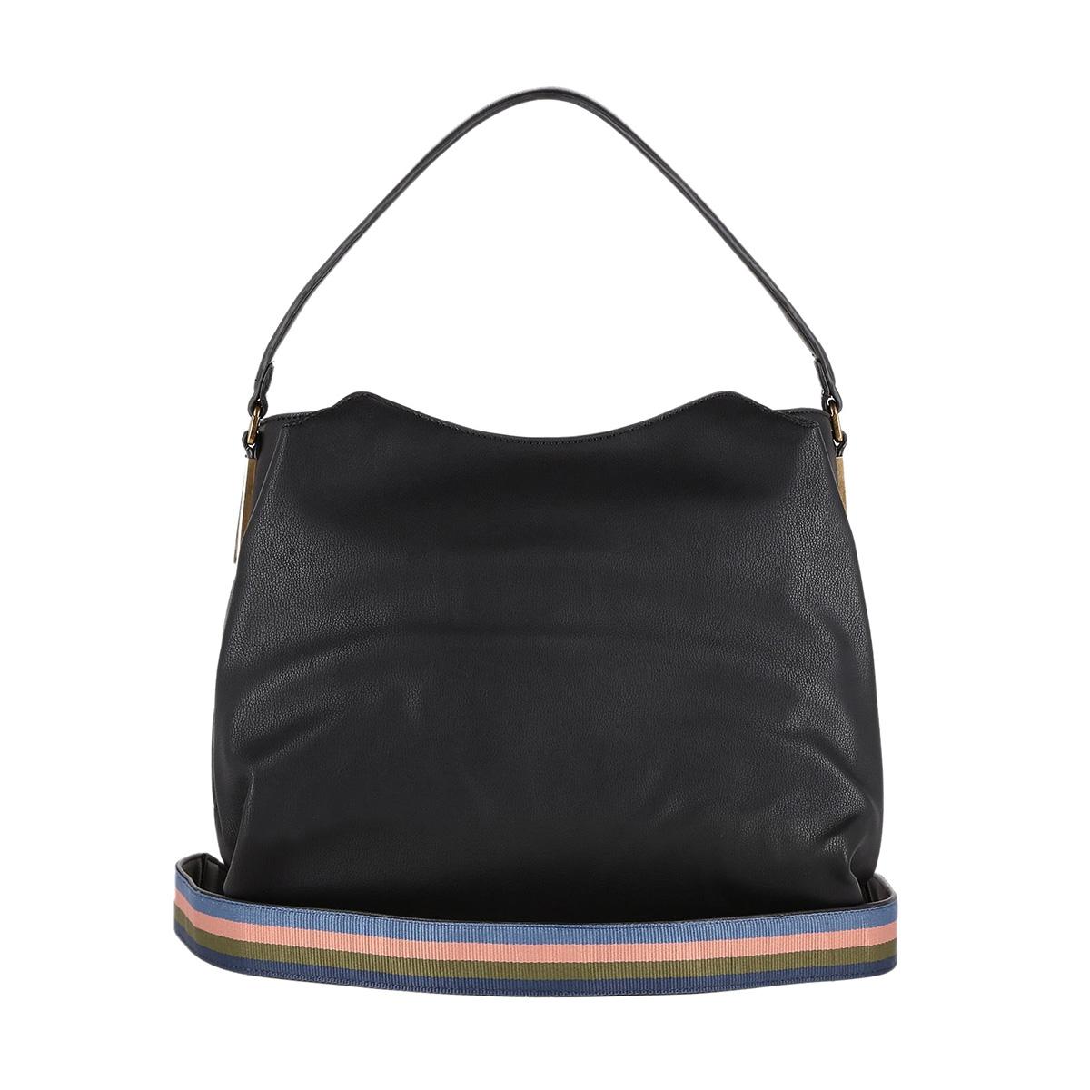 Τσάντα Ώμου Trussardi Jeans Rabarbaro Hobo Bag Ecoleather 75B00429 Μαύρη 2c2383e1f86