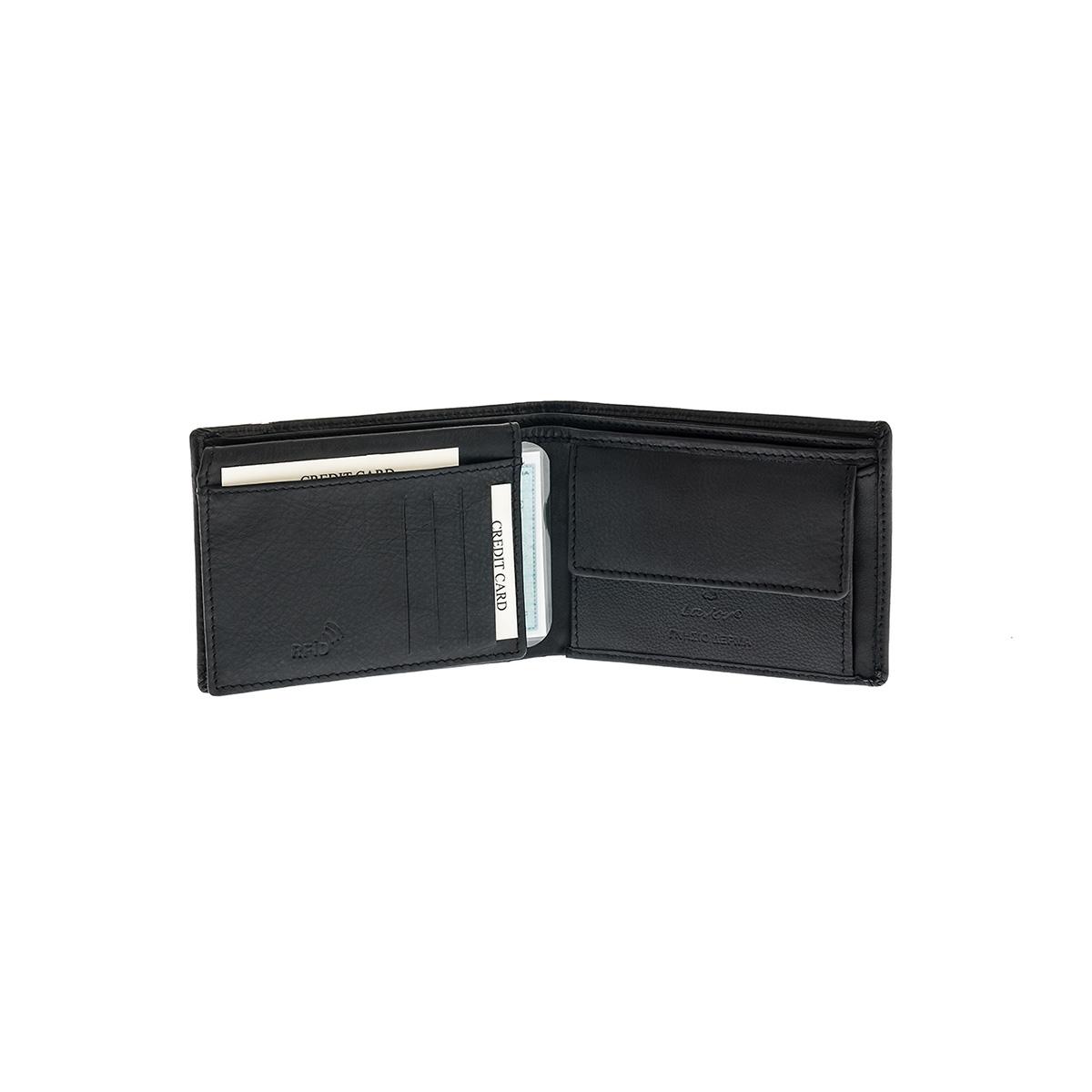 06ddcf1330 Δερμάτινο Πορτοφόλι Μεγάλο Με Φερμουάρ Χαρτονομισμάτων Lavor RFID 7106 Μαύρο