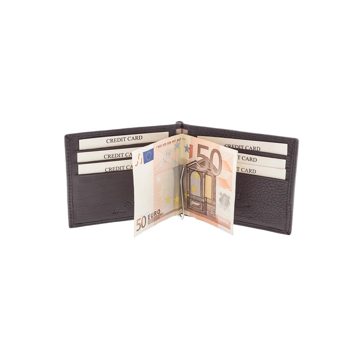 efb00da68b Δερμάτινο Πορτοφόλι Μικρό Με Κλιπ-Έλασμα Χρημάτων Lavor RFID 7409 Καφέ