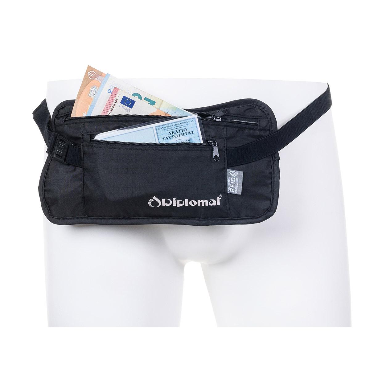 ddc1ec78f5 Εσωτερικό Τσαντάκι Μέσης Ταξιδιού Εγγράφων-Χρημάτων Με RFID Προστασία Diplomat  Acsec Μαύρο