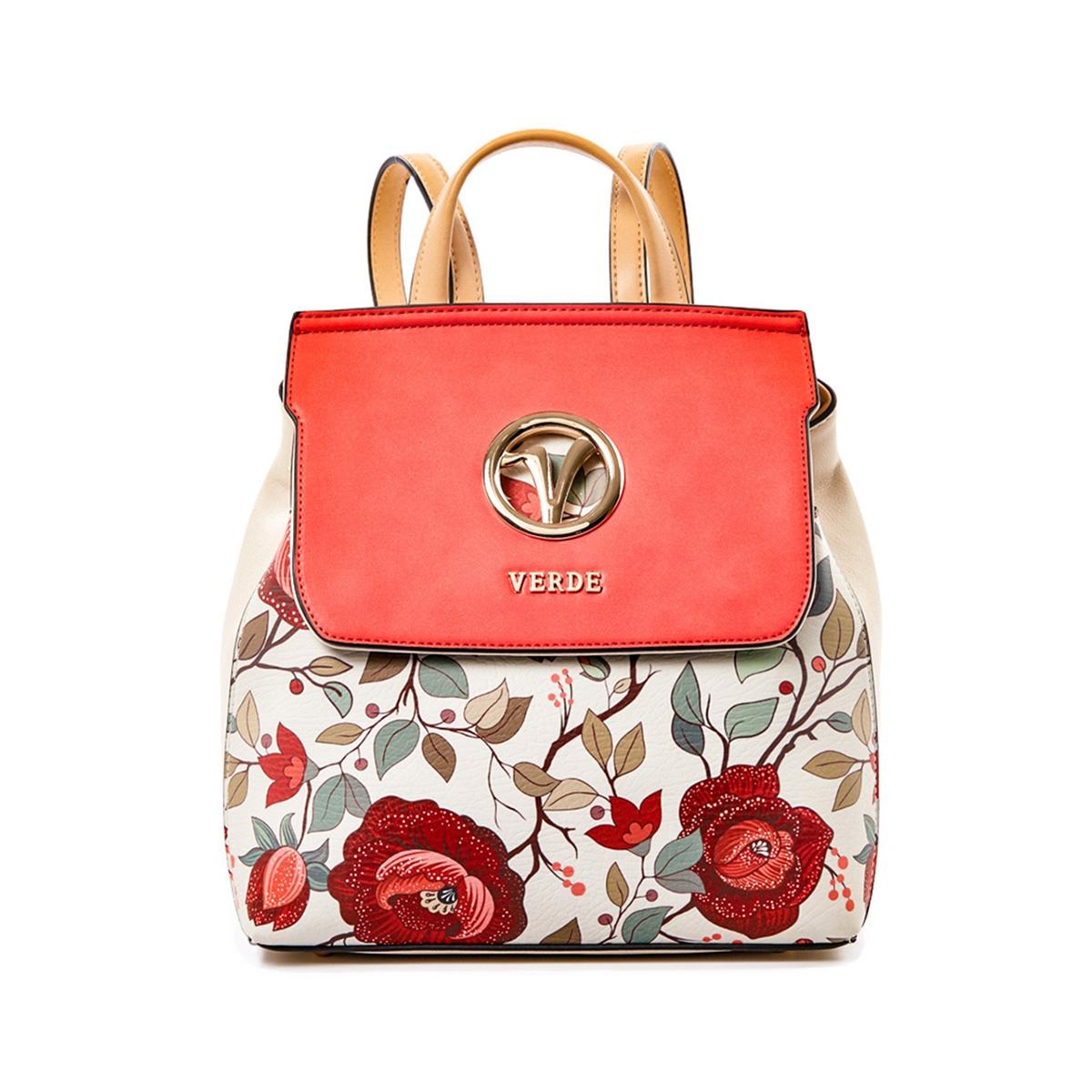 da15f0e99c Σακίδιο Πλάτης Με Floral Τύπωμα Verde Backpack 16-5037 Κοραλί ...