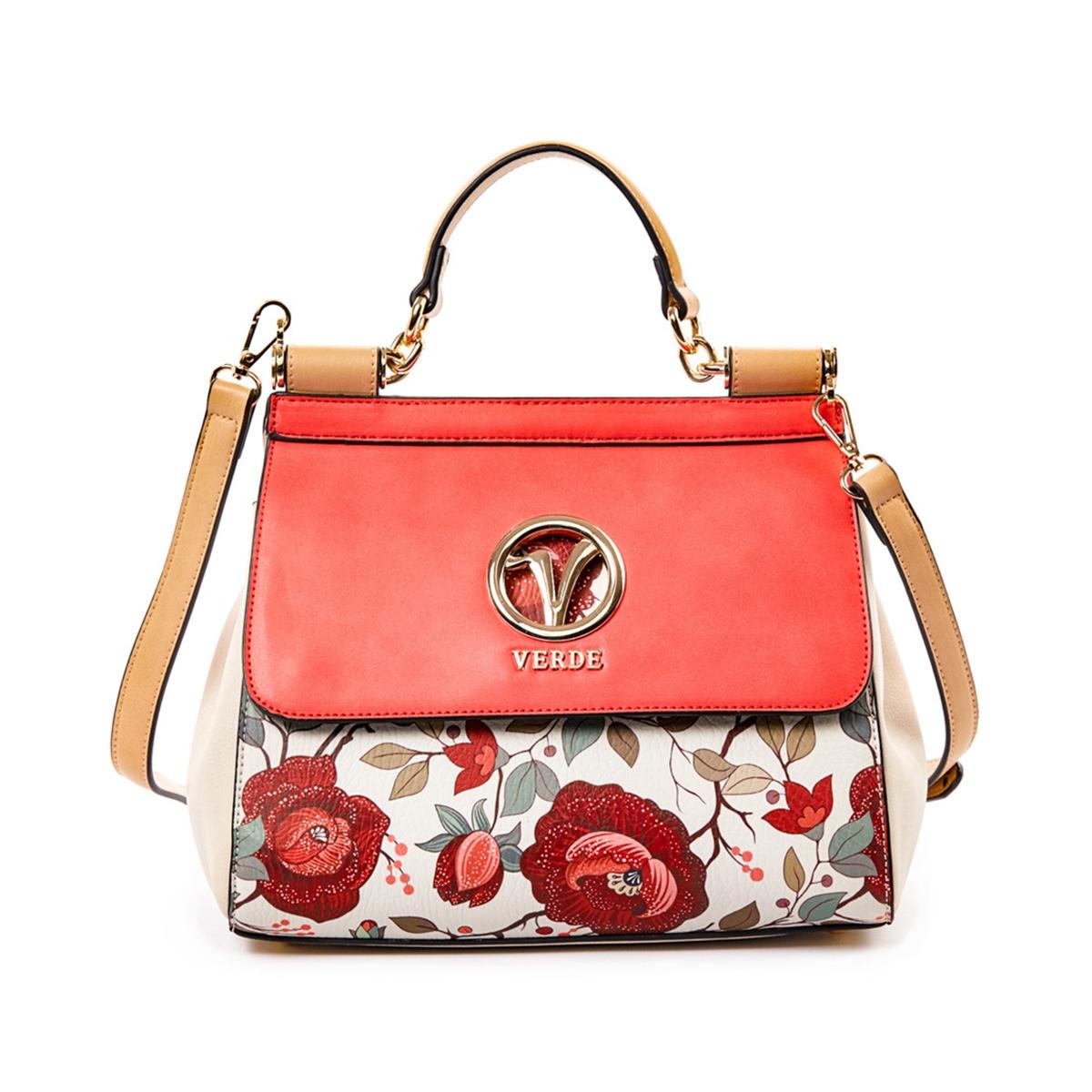 cf61c42182 Τσάντα Ώμου-Χειρός Με Floral Τύπωμα Verde 16-5035 Κοραλί