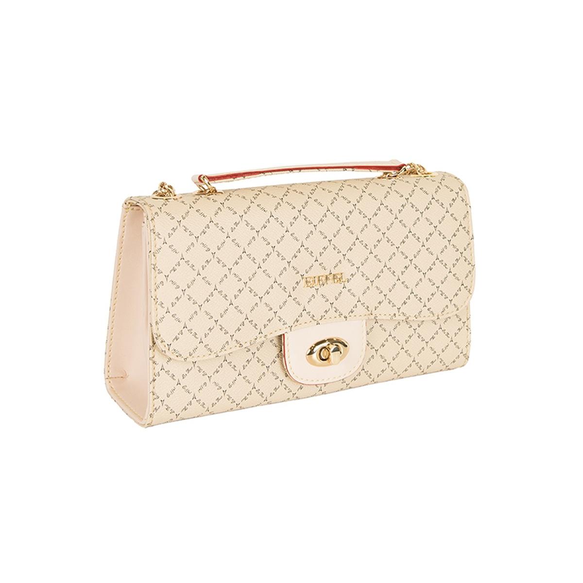 b1b264534c Τσάντα Ώμου Με Αλυσίδα La Tour Eiffel Logo-Δέρμα 151061 Μπεζ Ανοιχτό ...