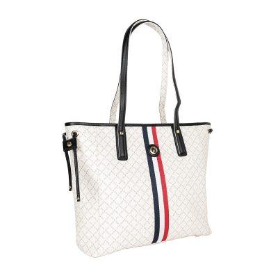 895508a0f8 Τσάντα Ώμου Με Ρίγα La Tour Eiffel Logo-Δέρμα 151006 Λευκή-Μαύρη