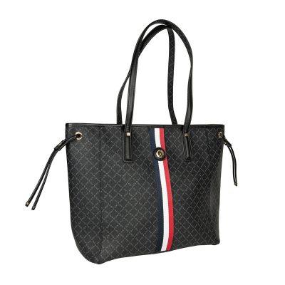 051db638f1 Τσάντα Ώμου Με Ρίγα La Tour Eiffel Logo-Δέρμα 151006 Μαύρη