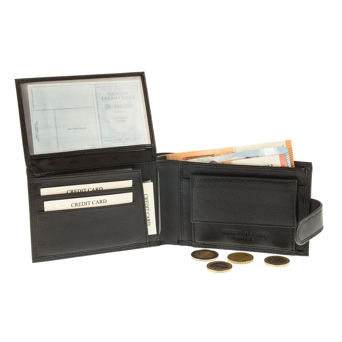 Kappa 960 Μαύρο Πορτοφόλι Ανδρικό - Με Κούμπωμα