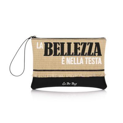 560fa53eb7 Τσάντα Φάκελος Με Ψάθα   Λαβή Le Pandorine Sabo Pochette Straw Bellezza  DAT02319 Μαύρος