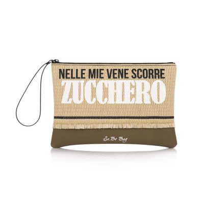 079006f55b Τσάντα Φάκελος Με Ψάθα   Λαβή Le Pandorine Sabo Pochette Straw Zucchero  DAT02319 Χακί