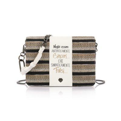 7703c2ceac Τσάντα Ώμου-Χιαστί Με Αλυσίδα   Πλεκτό Καπάκι Le Pandorine Pochette Sinceri  DBH02333 Λευκή