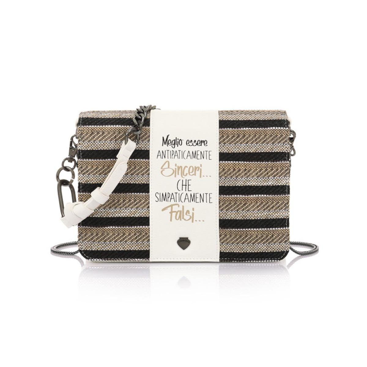 5d72a86669 Τσάντα Ώμου-Χιαστί Με Αλυσίδα   Πλεκτό Καπάκι Le Pandorine Pochette Sinceri  DBH02333 Λευκή