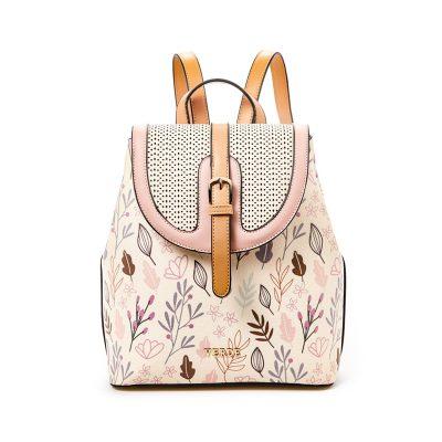 50b10e21af Σακίδιο Πλάτης Με Floral Τύπωμα Verde Backpack 16-5016 Μπεζ