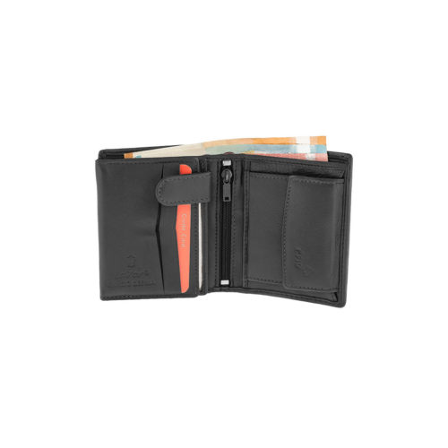 WALLET LAVOR 3309 Μαύρο Rfid Πορτοφόλι Μικρό Όρθιο, Εσωτερικό Κούμπωμα, Θήκες για Κάρτες