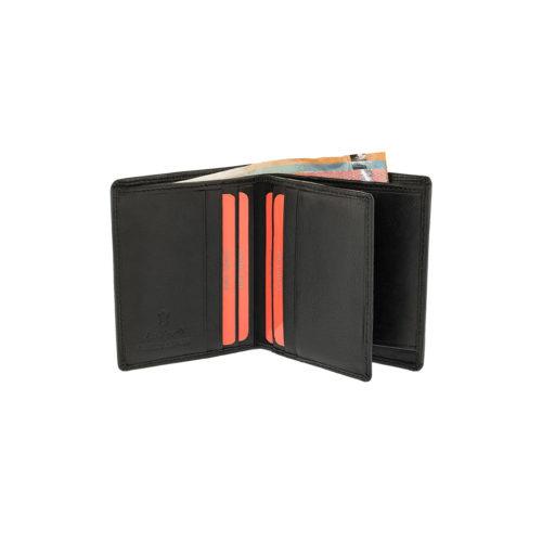 LAVOR 7125 Μαύρο Πορτοφόλι Μικρό Δερμάτινο Όρθιο Rfid