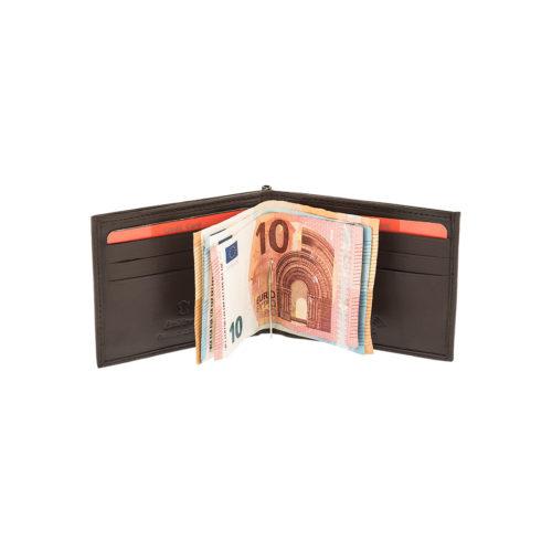 LAVOR 7409 Καφέ Πορτοφόλι με Έλασμα-κλιπ δερμάτινο με μαλακή υφή, RFID προστασία ανέπαφων καρτών