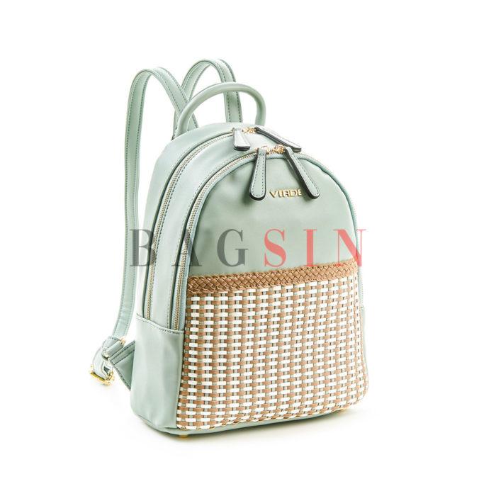 Σακίδιο Πλάτης Δίχωρο Με Πλεκτό Σχέδιο Verde Backpack 16-5516 Μέντα