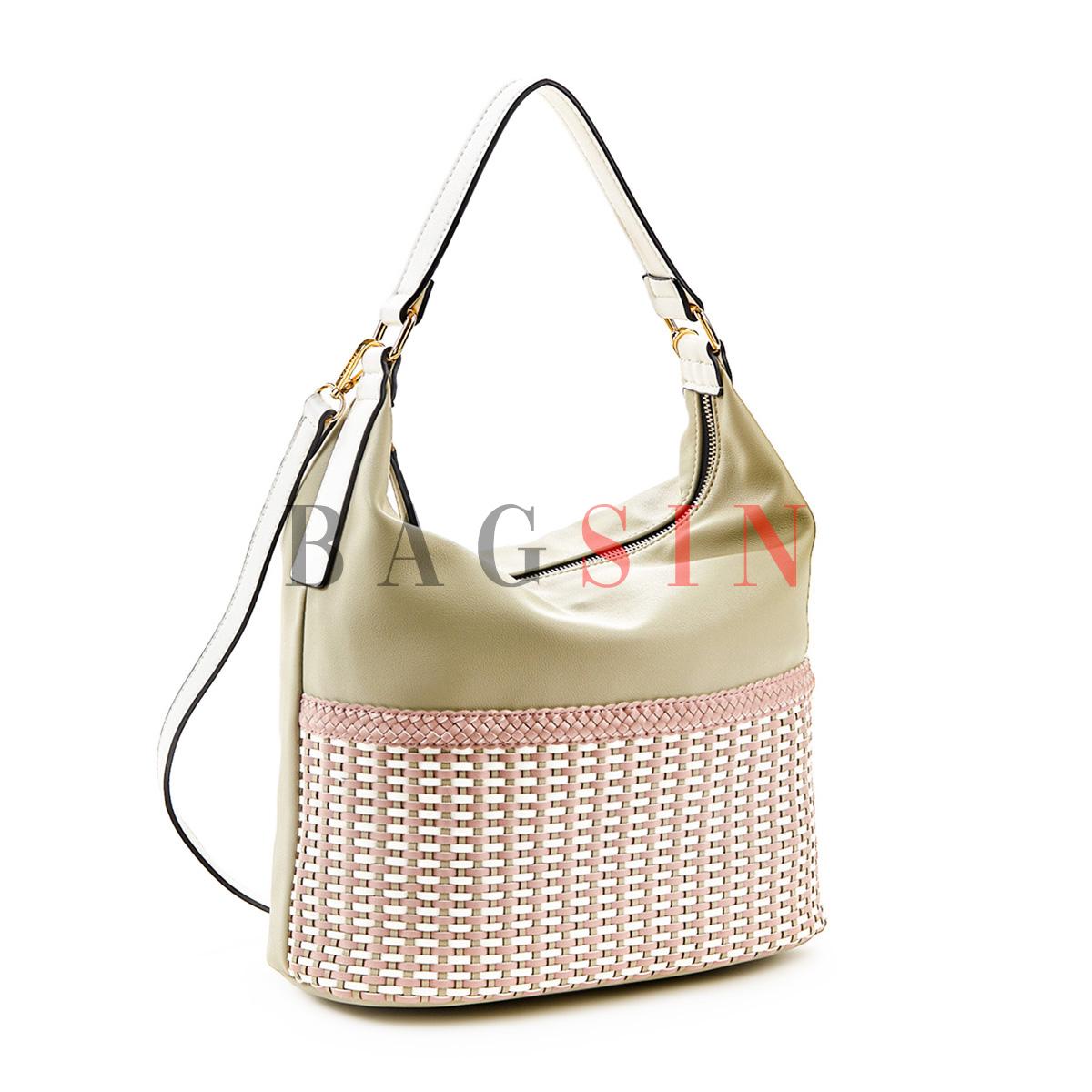 Τσάντα Ώμου Hobo Με Πλεκτό Σχέδιο Verde 16-5514 Γκρι-Λευκή
