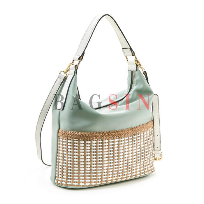 Τσάντα Ώμου Hobo Με Πλεκτό Σχέδιο Verde 16-5514 Μέντα-Λευκή