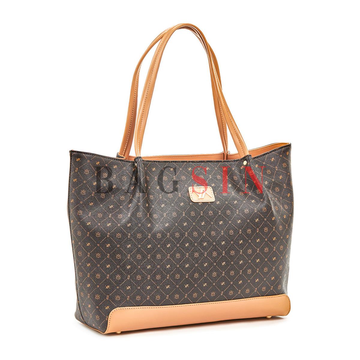 Τσάντα Ώμου Shopper Με Λογότυπο Verde 16-5936 Καφέ-Μπεζ
