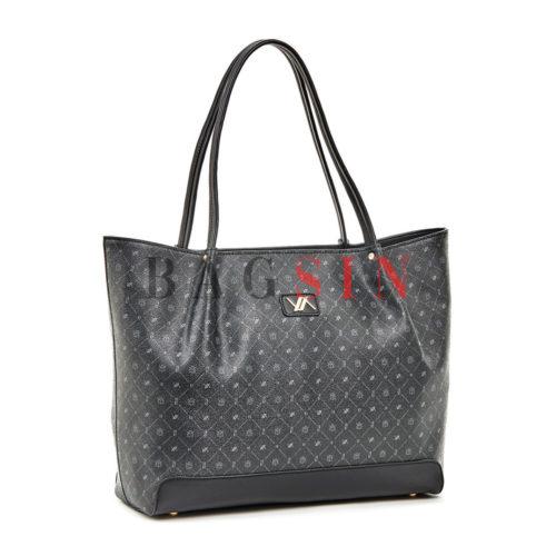 Τσάντα Ώμου Shopper Με Λογότυπο Verde 16-5936 Μαύρη Θεσσαλονίκη