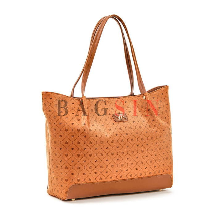 Τσάντα Ώμου Shopper Με Λογότυπο Verde 16-5936 Ταμπά-Καφέ