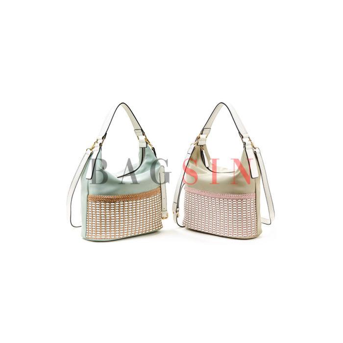 Τσάντα Ώμου Hobo Με Πλεκτό Σχέδιο Verde 16-5514