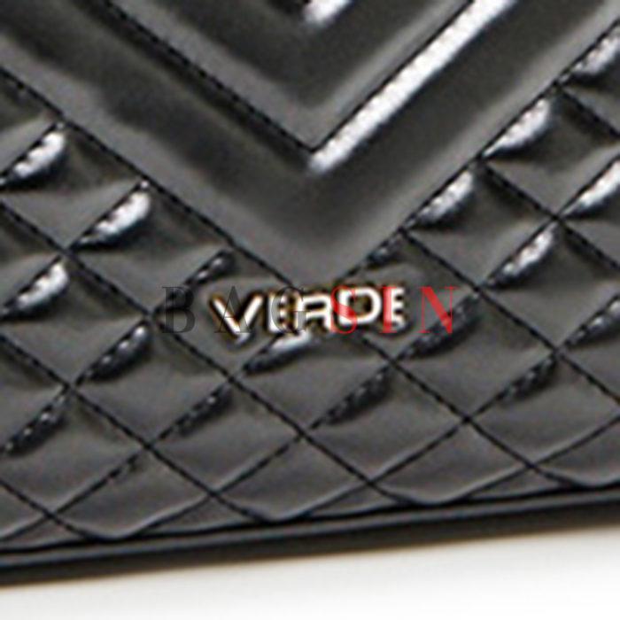Τσάντα Ώμου Καπιτονέ Τρίχωρη Με Αλυσίδα Verde 16-5955 Μαύρη