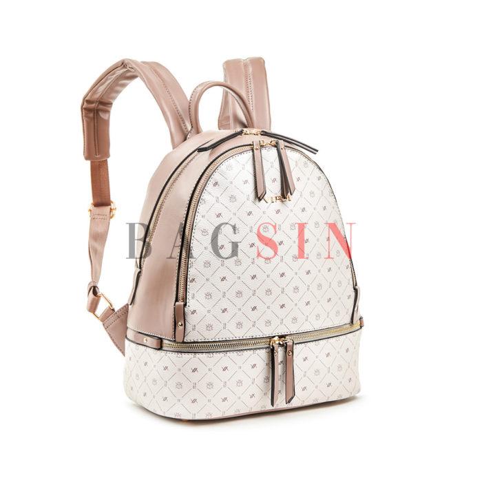 Σακίδιο Πλάτης Δίχωρο Με Λογότυπο Verde Backpack 16-6054 Εκρού-Dusty-Pink