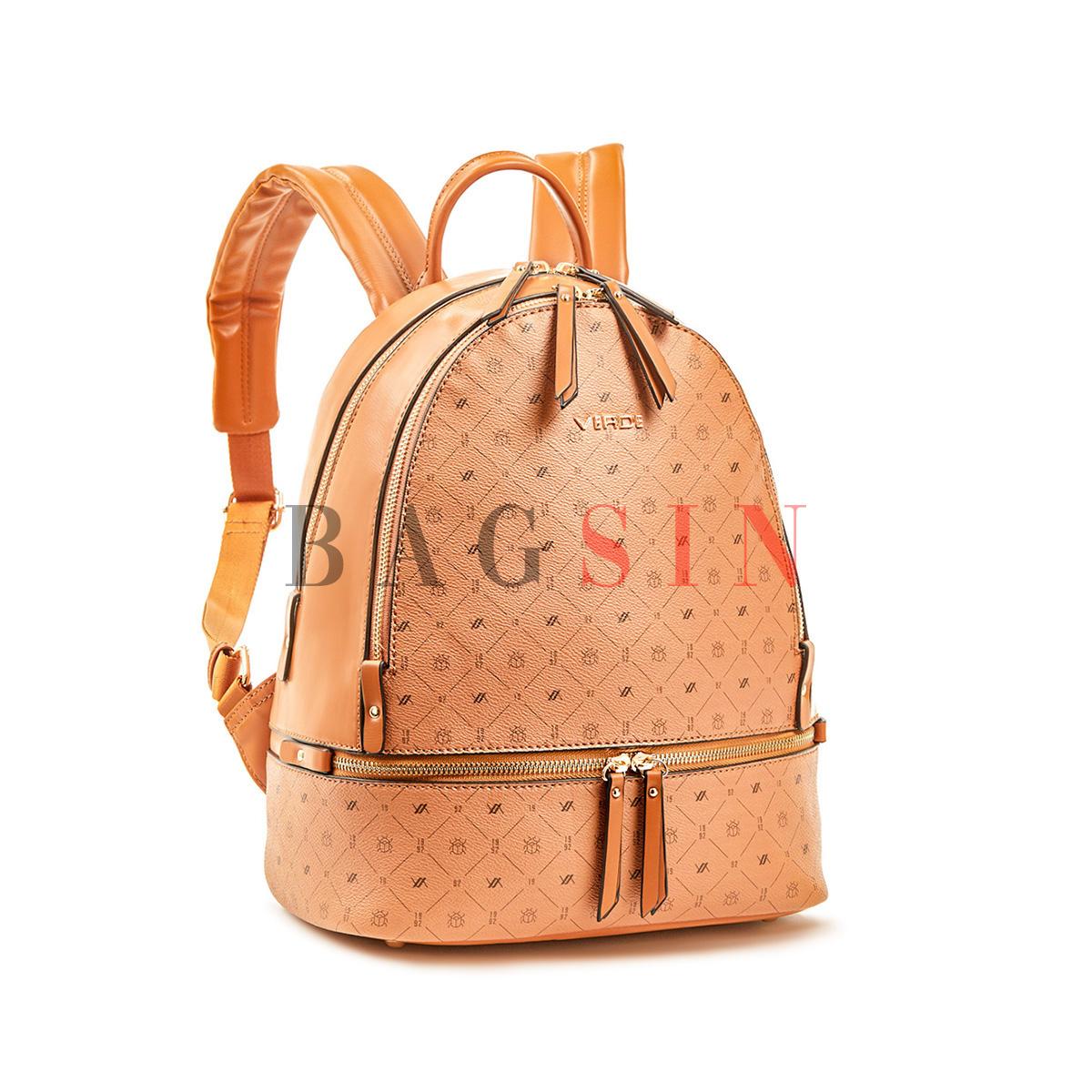 Σακίδιο Πλάτης Δίχωρο Με Λογότυπο Verde Backpack 16-6054 Ταμπά