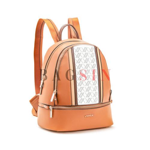 Σακίδιο Πλάτης Δίχωρο Με Διάτρητο Λογότυπο Verde Backpack 16-6013 Ταμπά