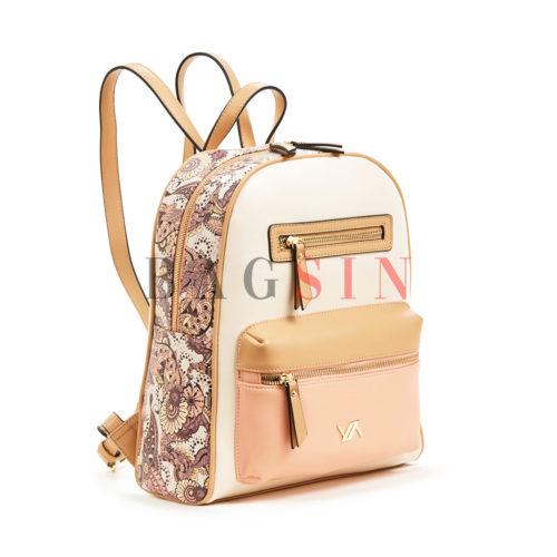 Σακίδιο Πλάτης Με Floral Τύπωμα Verde Backpack 16-5857 Λευκό-Ροζ-Μπεζ
