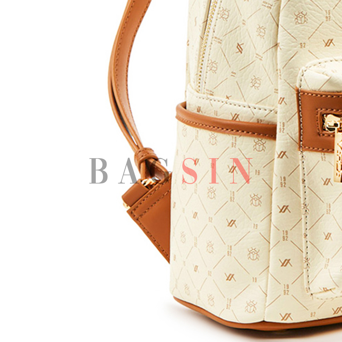 Σακίδιο Πλάτης Με Λογότυπο Verde Backpack 16-6011 Εκρού-Ταμπά