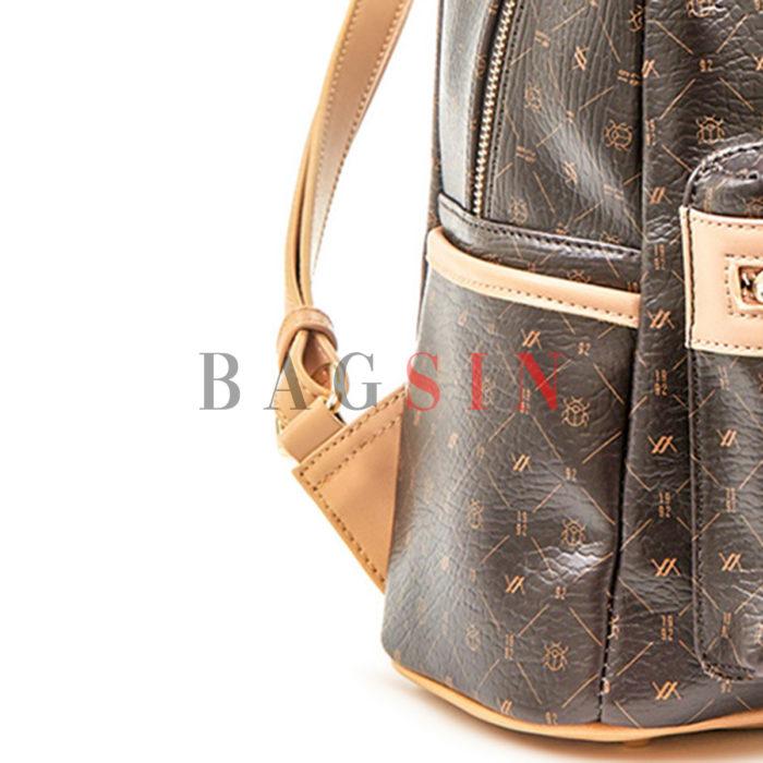 Σακίδιο Πλάτης Με Λογότυπο Verde Backpack 16-6011 Καφέ-Μπεζ