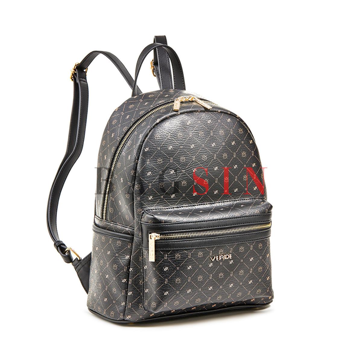Σακίδιο Πλάτης Με Λογότυπο Verde Backpack 16-6011 Μαύρο