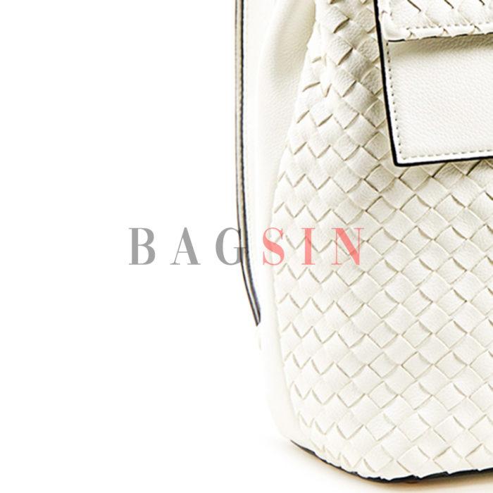 Σακίδιο Πλάτης Με Πλεκτό Σχέδιο Verde Backpack 16-5919 Λευκό
