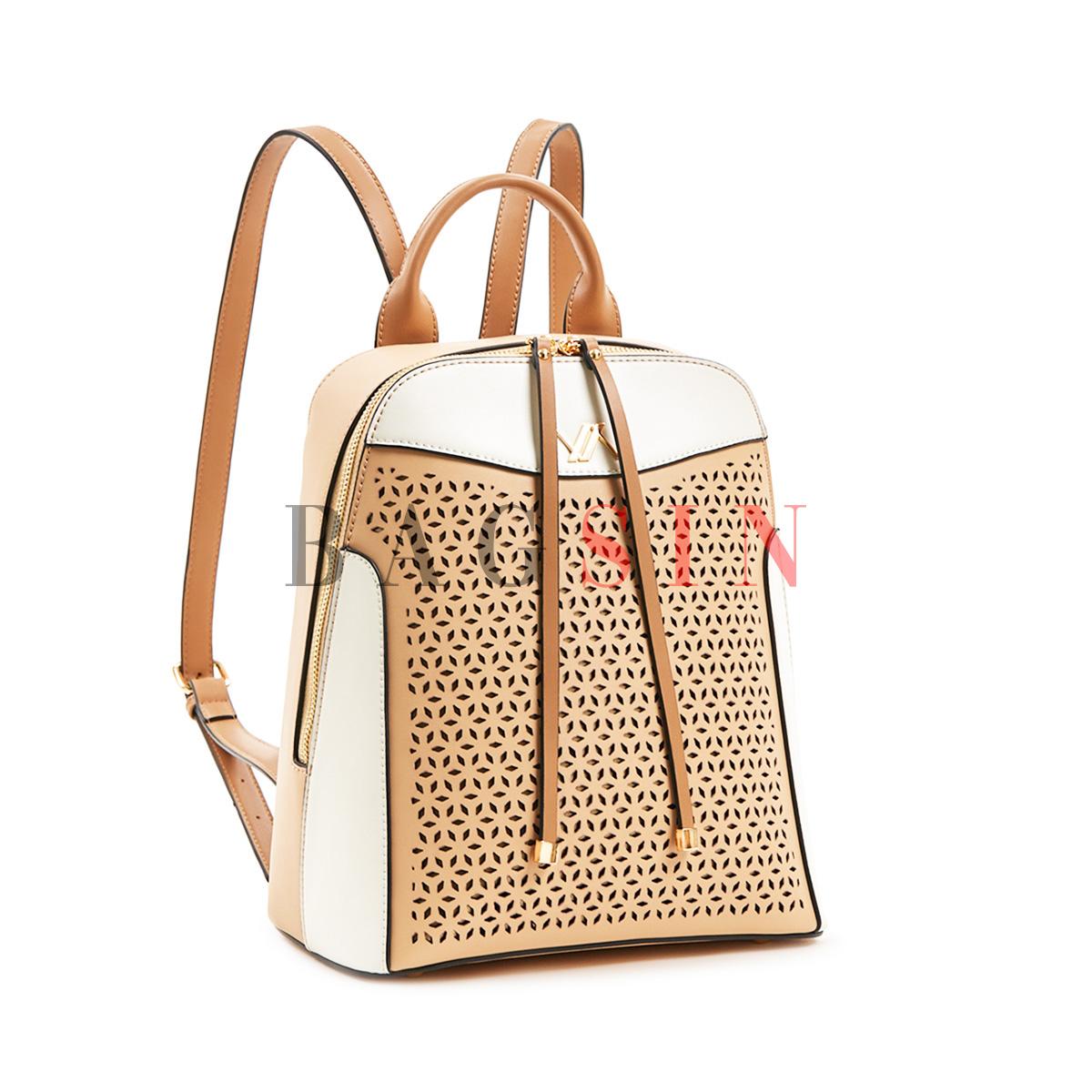Σακίδιο Πλάτης Verde Backpack 16-5901 Διάτρητο Μπεζ-Λευκό