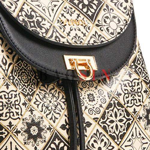 Σακίδιο Πλάτης - Πουγκί Με Λαχούρι Τύπωμα Verde Backpack 16-5854 Μαύρο-Λευκό