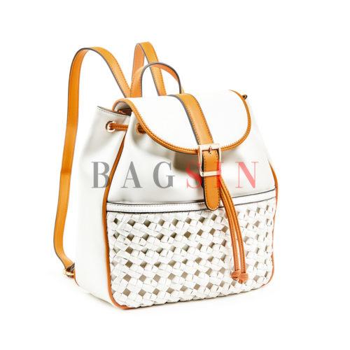 Σακίδιο Πλάτης - Πουγκί Με Πλεκτή Τσέπη Verde Backpack 16-6038 Λευκό-Ταμπά