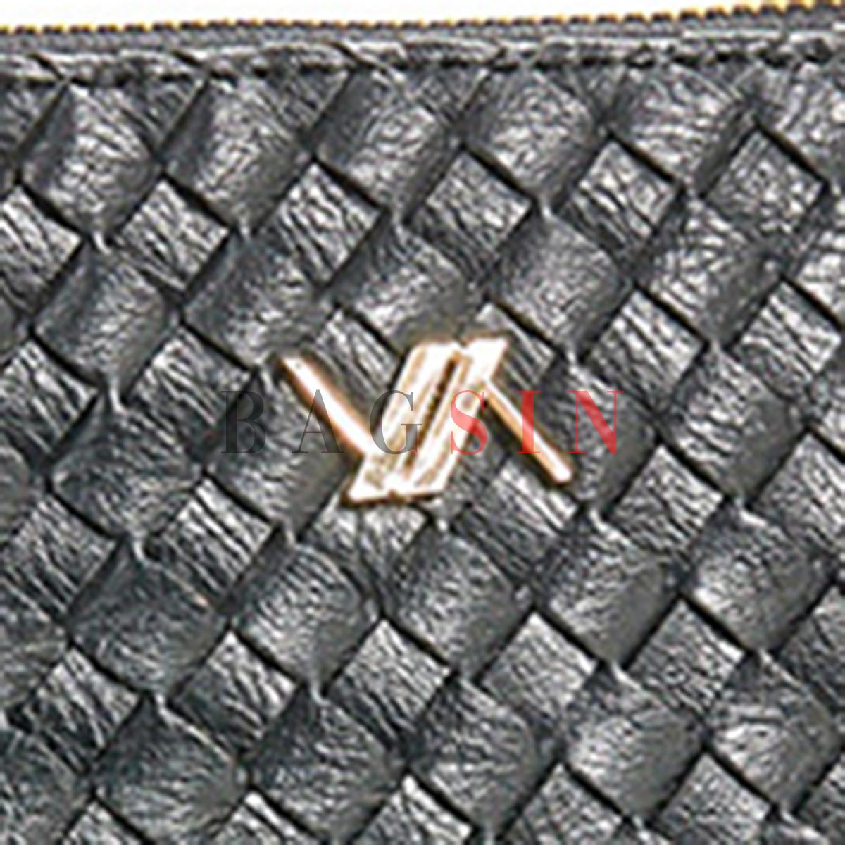 Τσάντα Χειρός – Φάκελος Με Πλεκτό Σχέδιο & Λαβή Verde 16-6034 Μαύρη