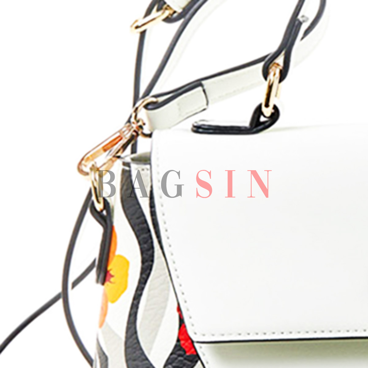 Τσάντα Ώμου-Χειρός Με Floral Τύπωμα Verde 16-5531 Λευκή-Κόκκινη