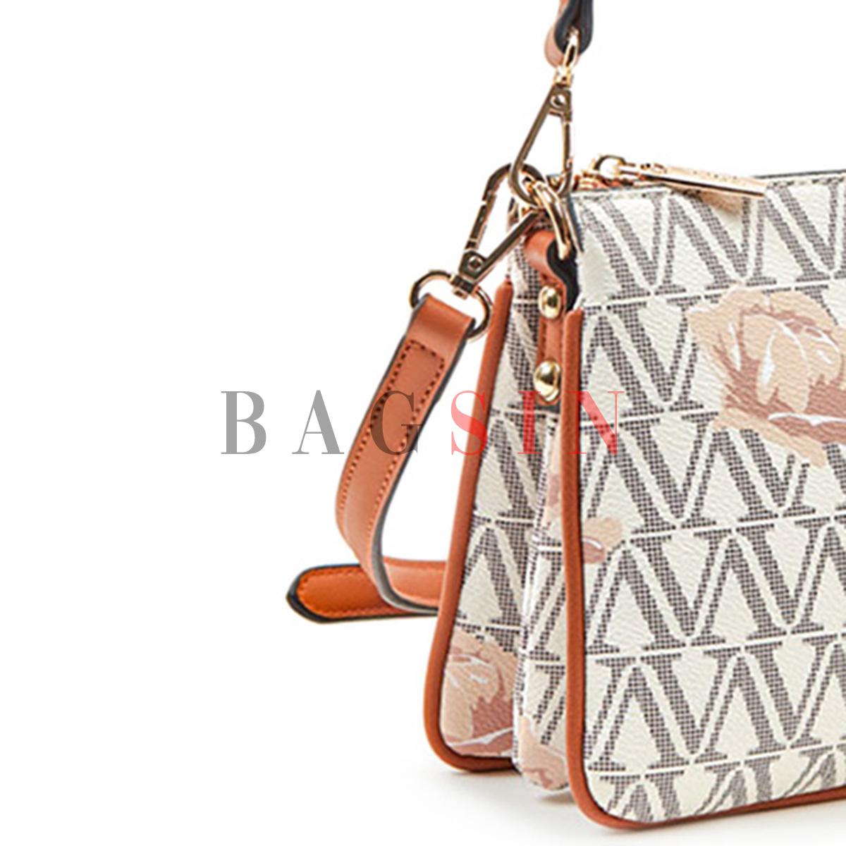 Τσάντα Ώμου-Χιαστί Πενταθέσια Με Λογότυπο Verde 16-5496 Εκρού-Ταμπά