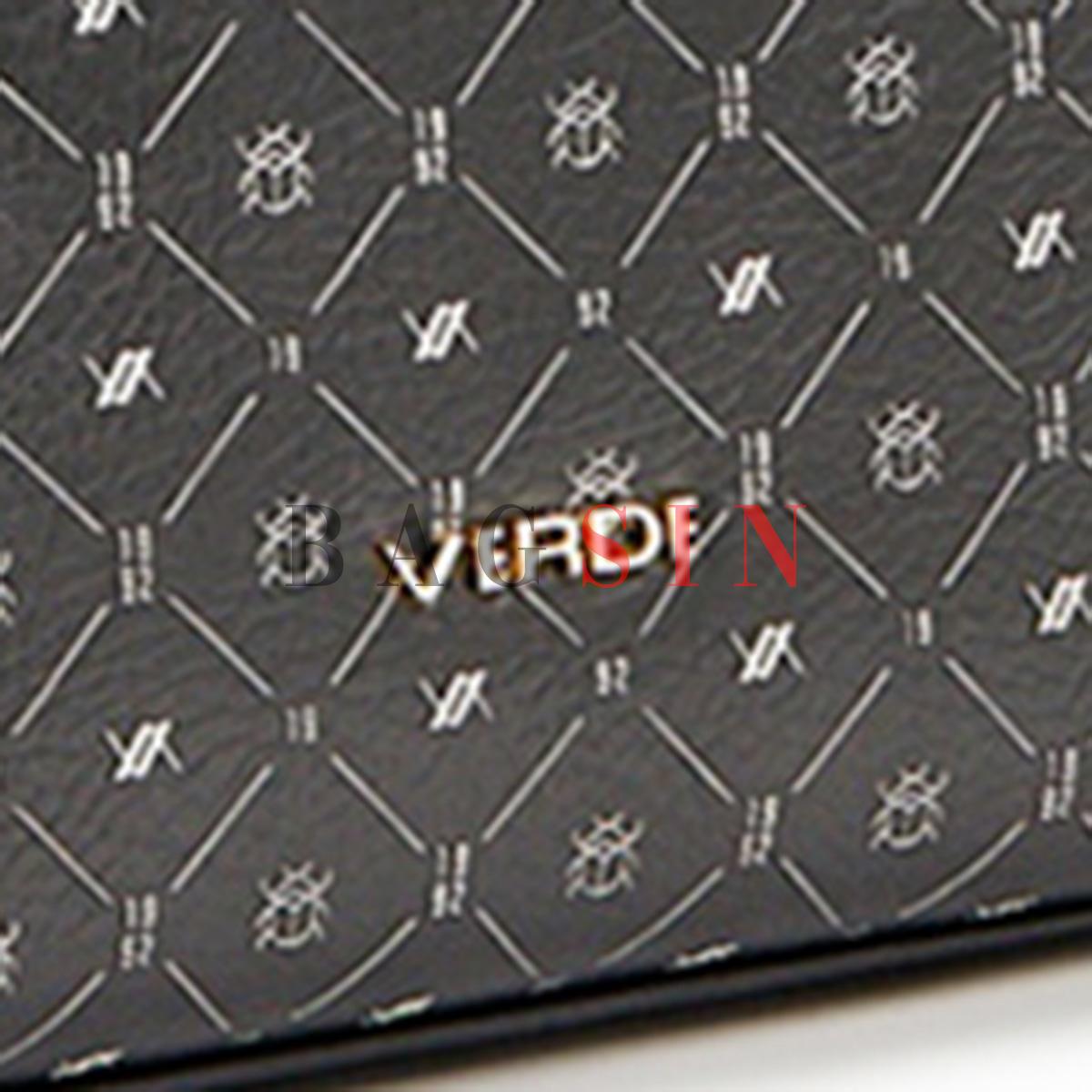 Τσάντα Ώμου Shopper Τριθέσια Με Λογότυπο & Αλυσίδα Verde 16-6048 Μαύρη