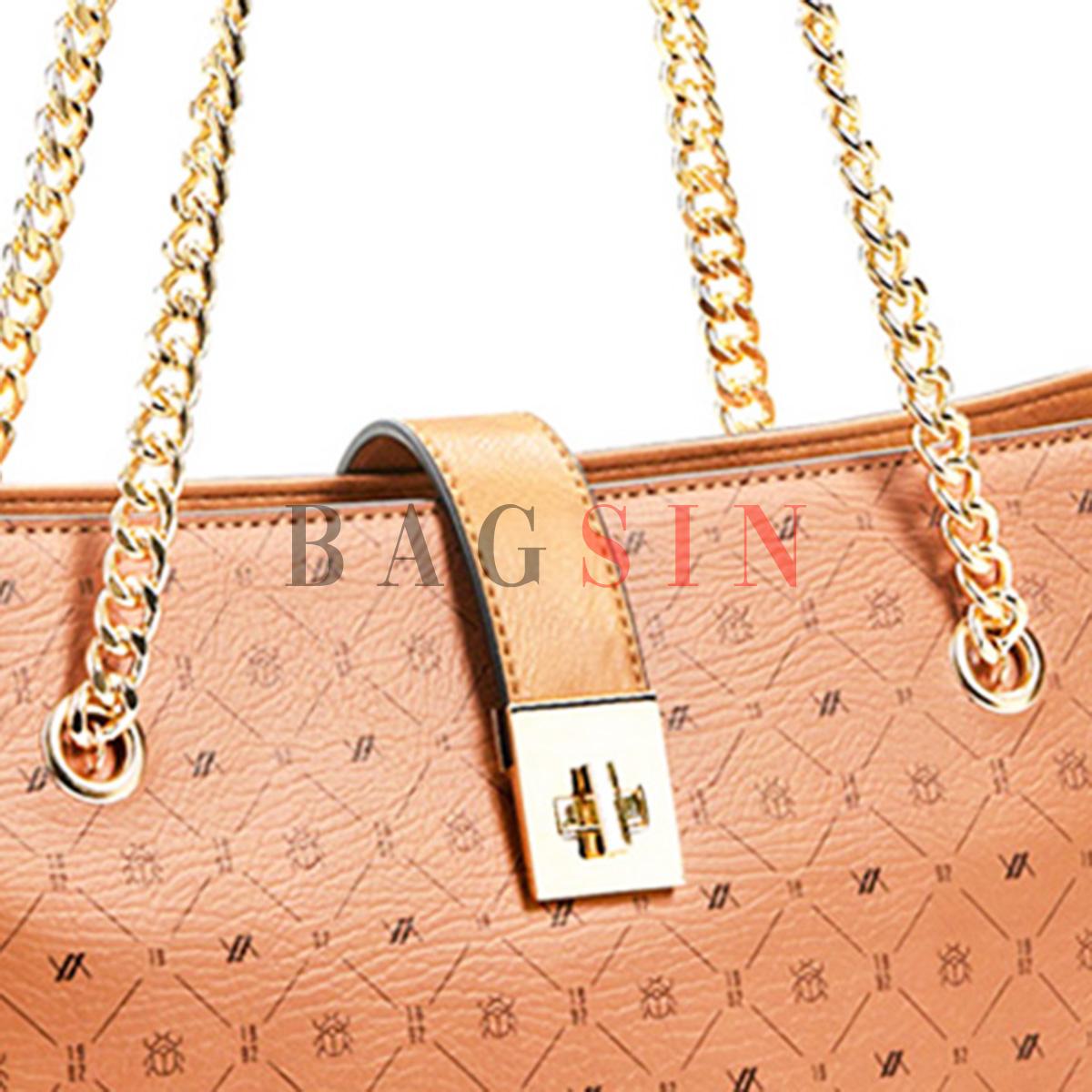 Τσάντα Ώμου Shopper Τριθέσια Με Λογότυπο & Αλυσίδα Verde 16-6048 Ταμπά