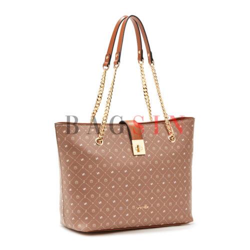 Τσάντα Ώμου Shopper Τριθέσια Με Λογότυπο & Αλυσίδα Verde 16-6048 Taupe-Ταμπά