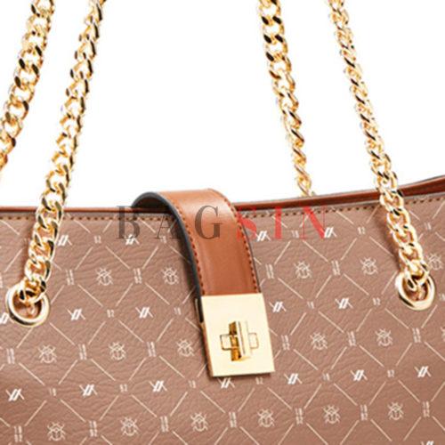 Τσάντα Ώμου Shopper Τριθέσια Με Λογότυπο & Αλυσίδα Verde 16-6048 Καφέ-Ταμπά