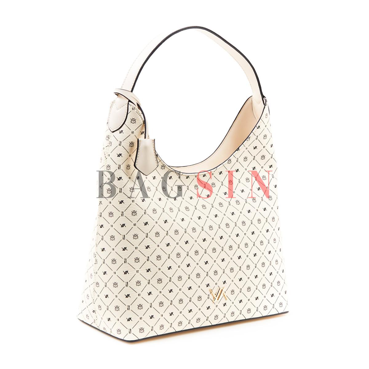 Τσάντα Ώμου Hobo Με Λογότυπο Verde 16-5640 Εκρού-Λευκή
