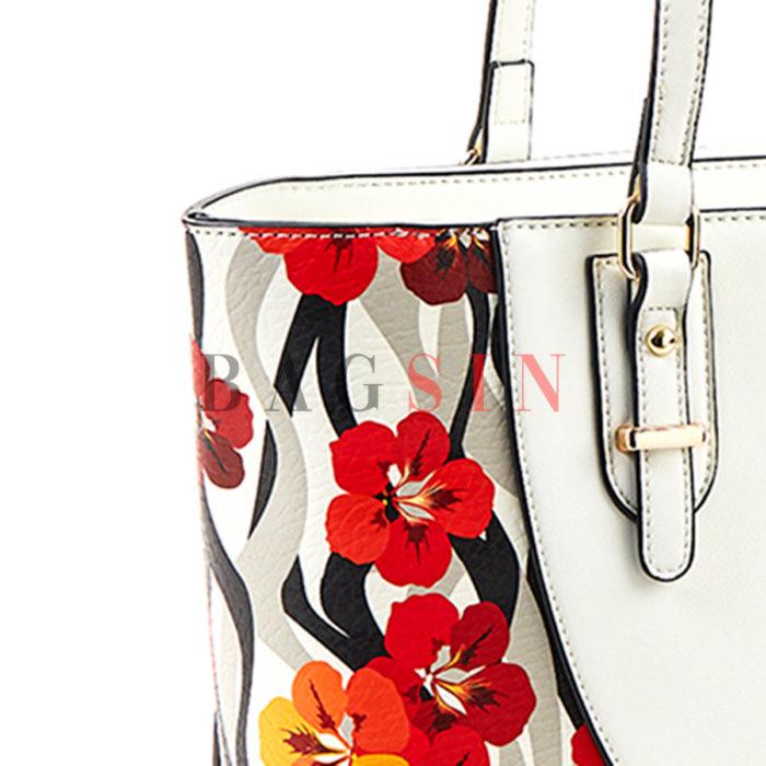 Τσάντα Ώμου Shopper Τρίχωρη Με Floral Τύπωμα Verde 16-5534 Λευκή-Κόκκινη