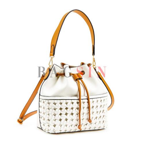 Τσάντα Ώμου – Πουγκί Με Πλεκτή Τσέπη Verde 16-6036 Λευκή-Ταμπά