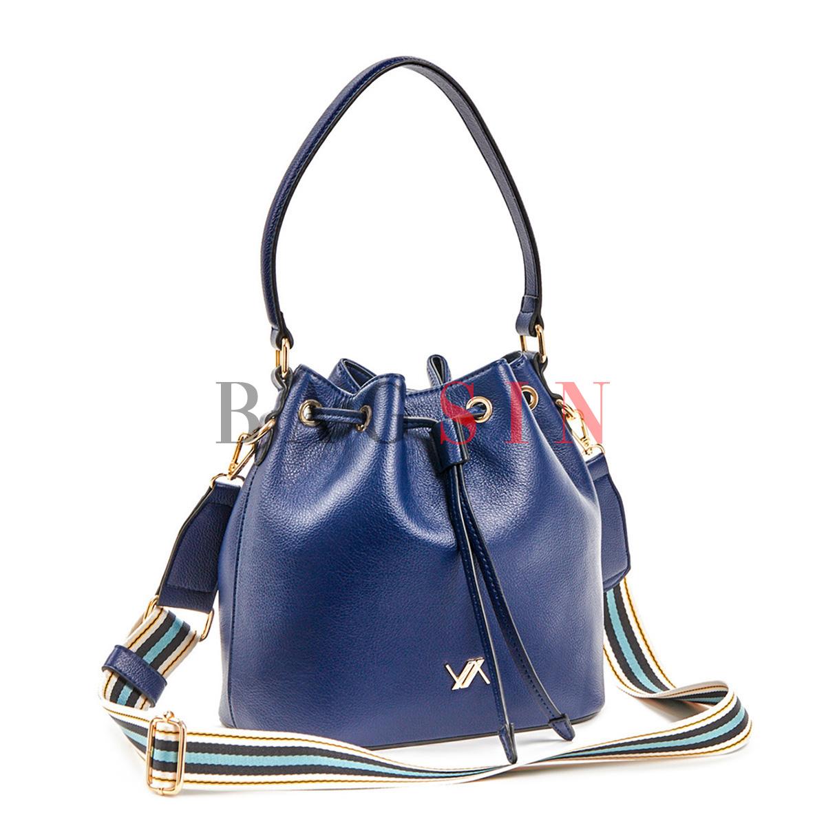 Τσάντα Ώμου – Πουγκί Με Tribal Λουρί Verde 16-5866 Μπλε